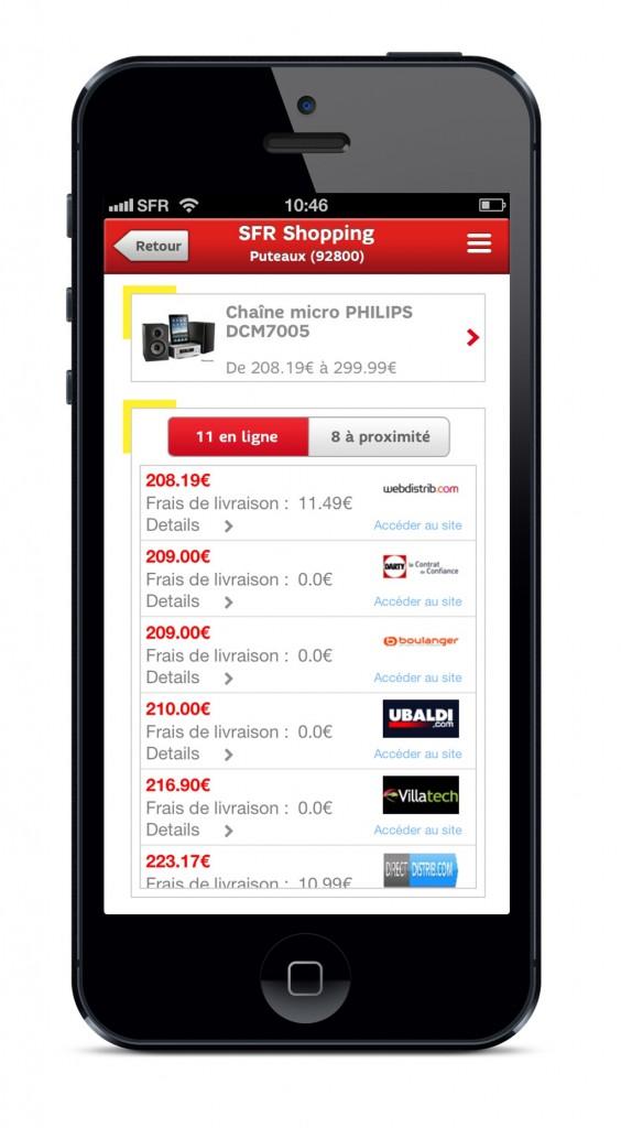Affichage d'une page produit sur SFR Shopping (iOS)