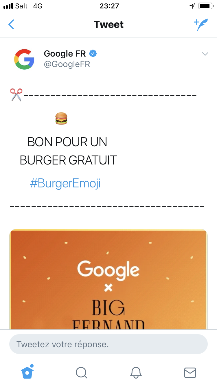 Tweet emoji Burger Google Big Fernand