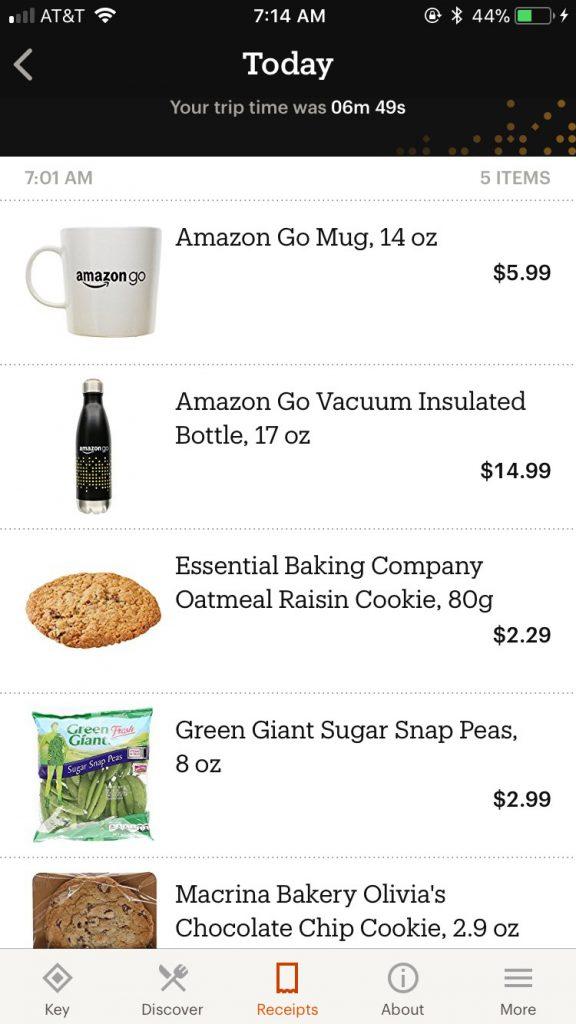 Amazon Go : aperçu du panier d'achat (sur mobile)