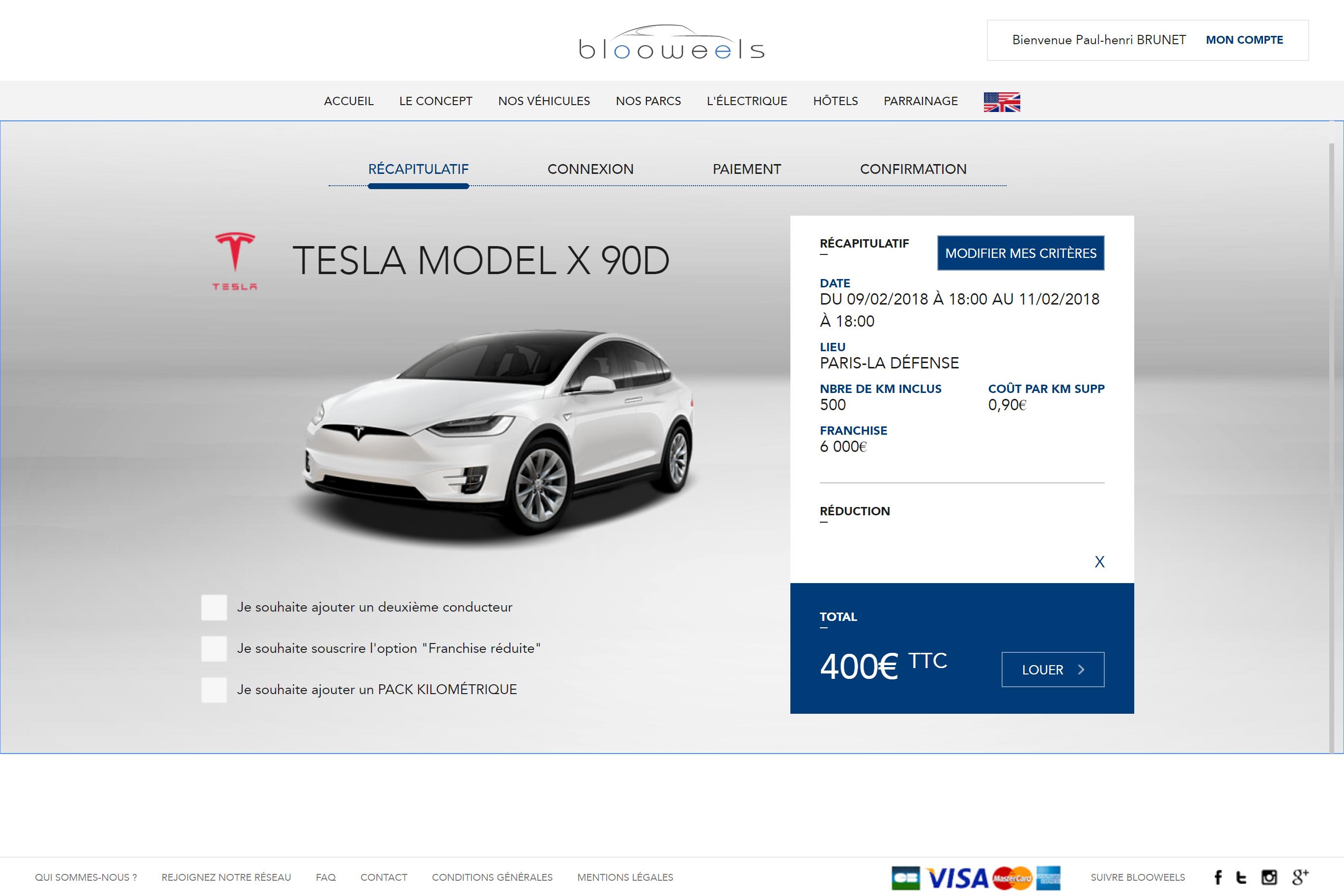 Réservation d'une Tesla Model X 90D sur Blooweels